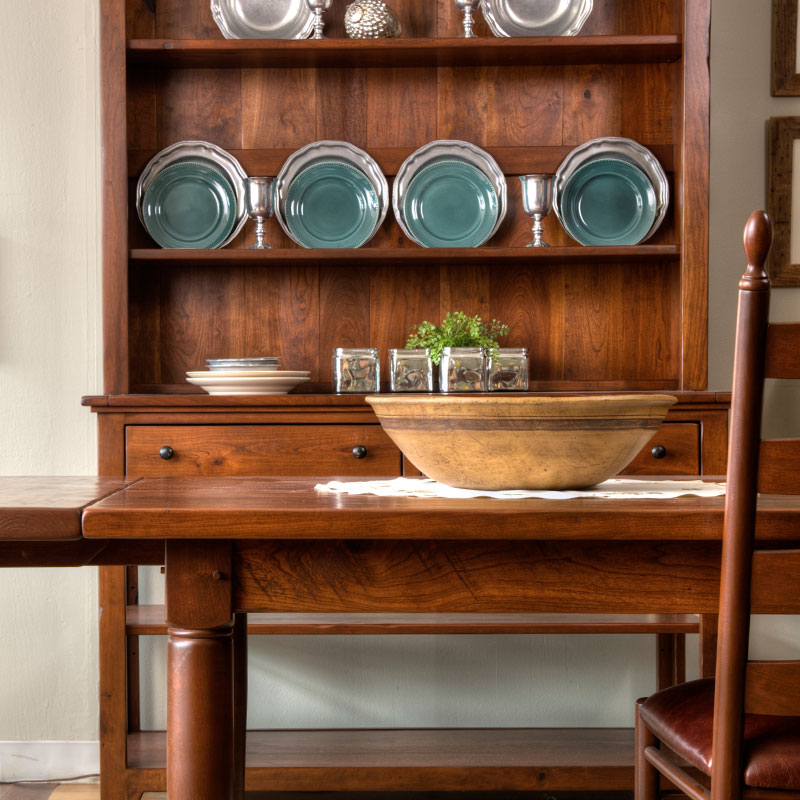 Handcrafted Rustic Cherry Thick Top Farm Table With Open Hutch And Buffet