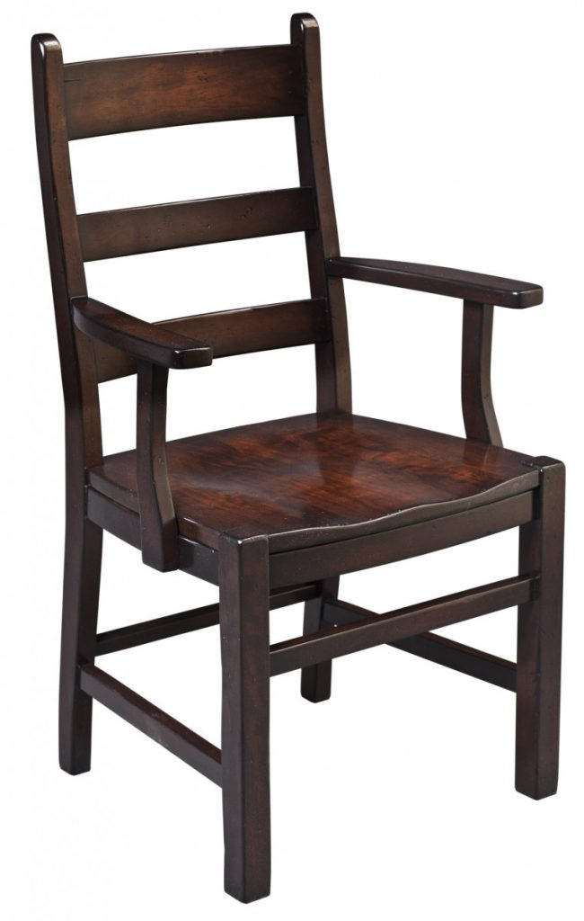 dining-pieces-dark stain finished wood custom arm chair for farm table