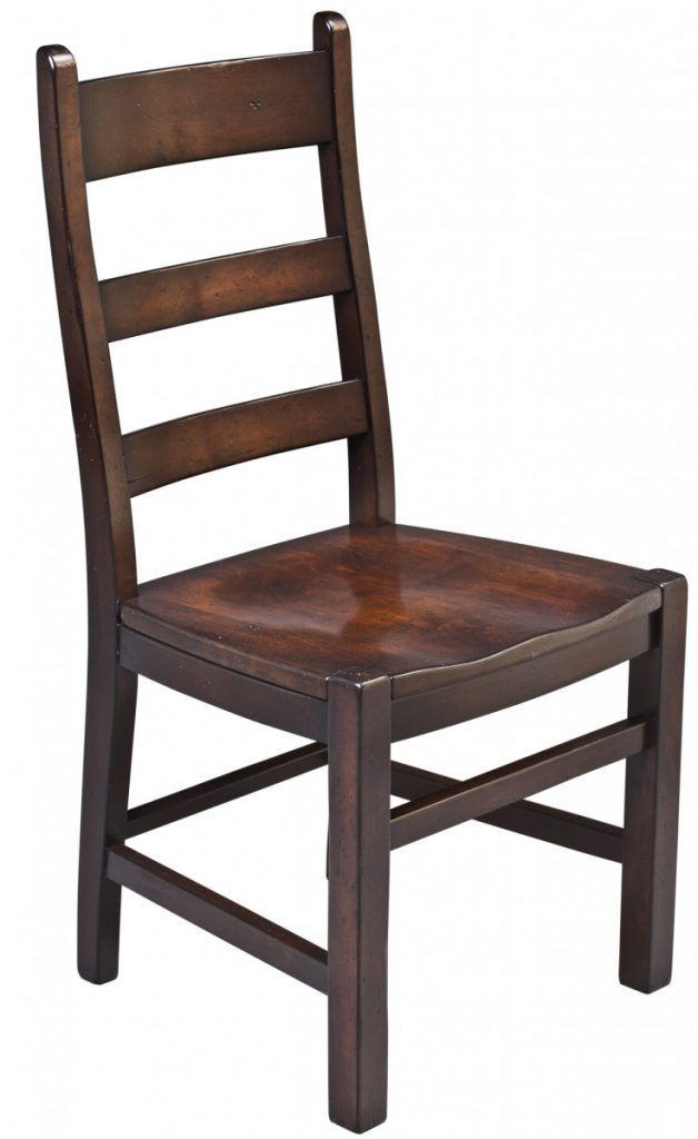 dining-pieces-dark stained finished wood side chair for farm table