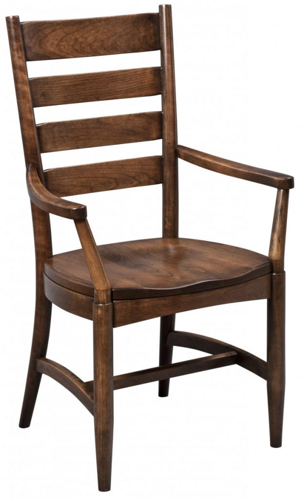 dining-pieces-dark natural wood finish on custom made stegel side chair for dining room