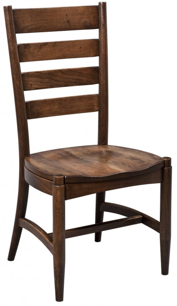 dining-pieces-darker natural wood finish on custom built side chair