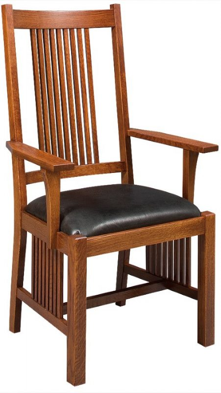 custom made woodland arm chair with natural wood finish and black seat cushion