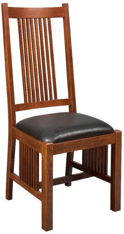 custom woodland side chair with natural wood finish and black cushion