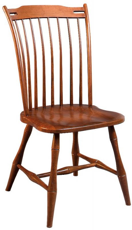 Custom thumbback side chair with natural wood finish