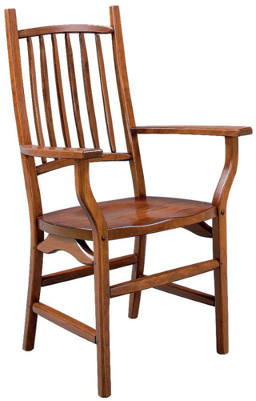 custom built country squire arm chair with natural wood finish