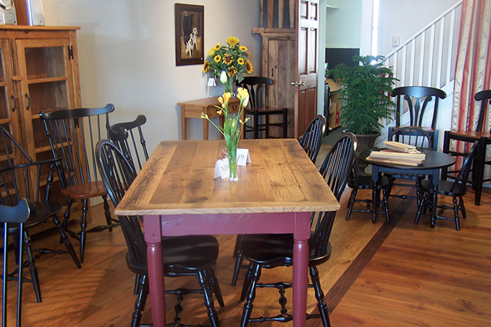 Red Painted Reclaimed Wood Table in Fairfax County